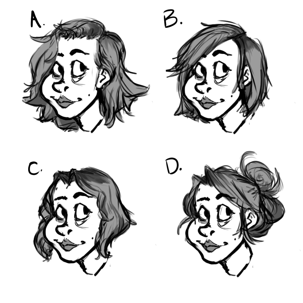 Various early hair designs for Sable.